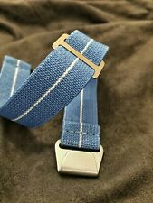 New No Pass, Diver Elastic Watch Strap Band Belt in 20mm - Light Blue, White