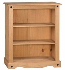 CORONA Small Low 2 Shelf Bookcase Mexican Solid Pine by Mercers Furniture