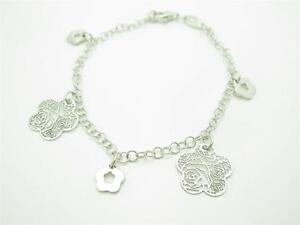 Nomination Italy Platinum Sterling Silver 3D Clover Design Charm Bracelet Gift