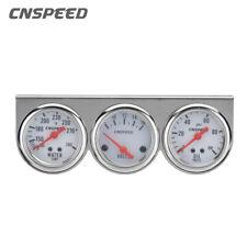 Universal 2' 52mm Chrome Volt Water Oil Pressure Triple 3 Gauge Set Gauges Kit
