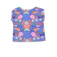 Now Womens Multi Coloured Blouse Top 16 Cap Sleeves Damask Zig Zag Floral Print