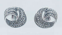 Vintage Sterling Silver 925 Round Marcasite Swirl Omegaback Earrings