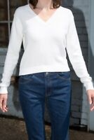 brandy melville white v neck crop cable knit leigh sweater NWT sz S