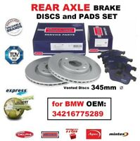 REAR AXLE BRAKE PADS + DISCS SET (345mm Dia Vented) for BMW OEM: 34216775289