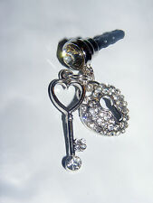 Lock & Key Sparkle cell phone charm plug dust charm