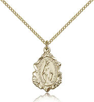 Our Lady of Miraculous Medal Pendant For Women - Gold Filled Necklace with 18...