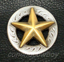 "WESTERN HORSE HAEDSTALL SADDLE TACK ANTIQUE GOLD STAR CONCHO 1-1/2"" screw back"