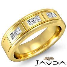 Princess Diamond Ring 18k Yellow Gold 6.5mm Matt Finish Men Wedding Band 0.6Ct