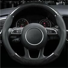 Black Genuine carbon fiber steering wheel cover leather carbon fiber cover 1x