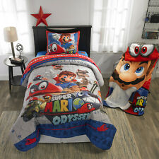 Super Mario Bed Set Bed in a Bag Reversible Kids Comforter & Sheets Twin Size