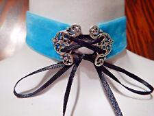 AQUA VELVET CORSET CHOKER silver damask filigree black ribbon gothic necklace P6