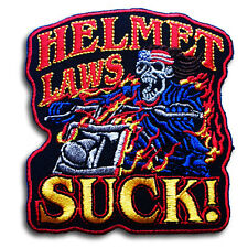 Helmet Laws Suck Gang Patch Iron on Chopper Biker Rider Motorcycle Vest Saying