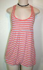 REBECCA BEESON Sz 0 Orange Gray Striped Racerback Bubble Hem Tank Top Shirt