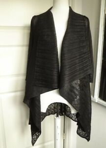 CHESCA Waterfall Black Jacket Cardigan Lace Look Concertina Pleated Lagenlook
