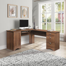 L-Shaped Desk Modern Corner Computer Table with 3 Drawers Home Office Furniture