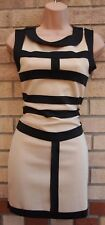 NUDE BEIGE BLACK STRIPE PANELLED CORSET TIGHT BANDAGE BODYCON PARTY DRESS 8 S
