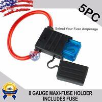 5 Pack 8 Gauge APX MAXI Inline Blade Fuse Holder w/ Waterproof Cap + 30A - 120A