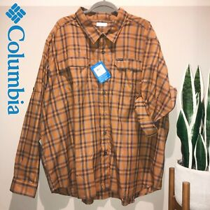 New COLUMBIA Silver Ridge 2.0 Long Sleeve Orange Plaid Shirt Omni Men's Sz 4XL