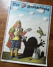 Vintage Frog King Poster, Book Advertisement, Rare