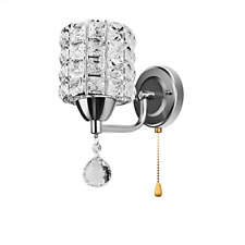 ONEVER Crystal Wall Light Fixture with Pull Cord Switch for Living Room Bed Room
