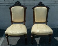 Pair of Rosewood French Victorian Style Dining Chairs Antique New Upholstery