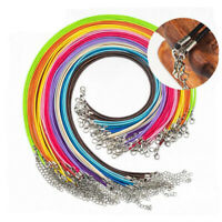 50pcs/Lots Charm Real Leather Cord Chain Necklace with Lobster Clasp DIY Jewelry
