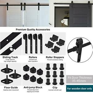 Door Sliding Barn Hardware Set Steel Kit Steel Sliding Double/Single Wood Track