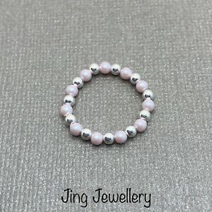 Sterling Silver And Pink Swarovski Pearl Bead Stretch Stacking Ring, All Sizes