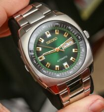 Seiko Men's SNKM97 Analogue Green Dial Automatic Silver Stainless Steel Watch