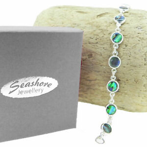 "Paua Abalone Shell Bracelet Circle Link Womens Silver Fashion Jewellery 7.5"""
