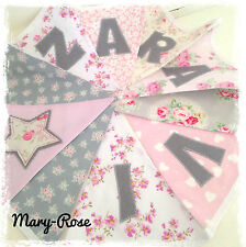 Baby Girl Personalised Name BUNTING/BANNER Vintage Florals, Pinks Greys Flowers