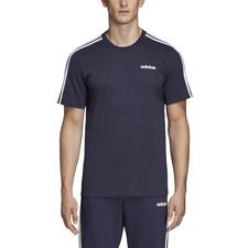 Adidas Hombre Camiseta Atletismo Essentials 3-Stripes Entreno Azul Marino DU0440