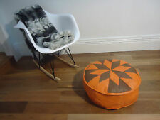 Beautiful Leather Ottoman for use as Coffee Table or Pouf or Pouffe - Orange/Tan