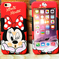 FUNDA Carcasa MICKEY MINNIE ROSA ROJA 360 GRADOS para IPHONE 6 6S PLUS 7 7 PLUS