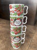MCM stacking Vintage Christmas Mugs