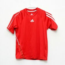 Adidas Athletic Shirt Boys Size Small Red White Clima 365 Short Sleeve
