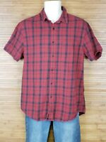 Topman Red And Black Plaid Short Sleeve Button Front Shirt Mens Size Medium M
