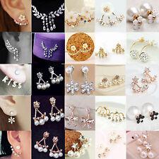 Neu Blumen Damen Kristall Strass Perlen Ohrring Ohrstecker Ohr Stud Mode Schmuck
