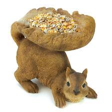 Woodland Squirrel Birdfeeder Unique Cute Statue Figurine Garden Home Accent Wows