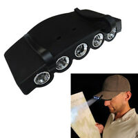Bright 5 LED Under the Brim Cap/ Hat Light Head Light Fishing Camping Headlamp