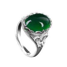 Fashion Chrysoprase Silver Plated Ring Vintage Adjustable Women Jewelry Crystal