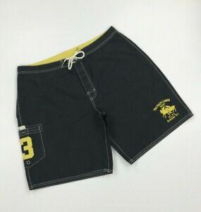 Men's Black Polo by Ralph Lauren Board Shorts W36 Swim No.3 Unlined Trunks A*