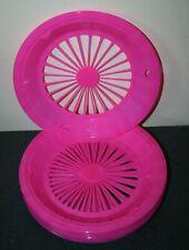 "Set of 12 Hot Pink Plastic 9"" Paper Plate Holders Picnics Camping Bbq"