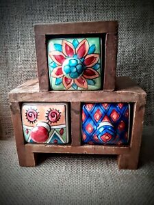 Hand Painted Trinket Mango Wood Box | 3 x Ceramic Drawers | Fair Trade Ethical