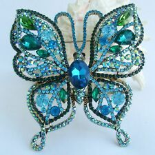 """Butterfly Brooch Pin Pendant Bp04920 Gorgeous Insect 3.74"""" Rhinestone Crystal"""