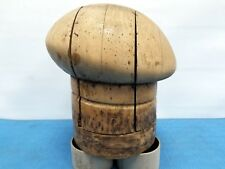 """Vtg Wood Wooden Hat Block Head Style Form Display Mold Millinery Size 21""""1/2 #5"""