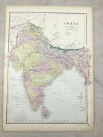 1891 Antique Map of India British Colonial Colony 19th Century Original