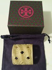 NEW TORY BURCH Perforated Resin Logo Cuff Bracelet HORN+ Gift Box