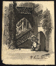 Antique Drawing-MAN CARRYING WINE BARREL-STAIRCASE-Sundblad-ca. 1870