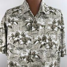Trader Bay Men's Hawaiian Aloha Shirt Size XL Map Floral Beige Palm Trees